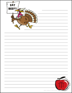 Free Thanksgiving Worksheets Eat Beef turkey writing paper Terri's Teaching Treasures