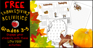 Free Thanksgiving Worksheets for 3rd grade, 4th grade, and 5th grade Terri's Teaching Treasures
