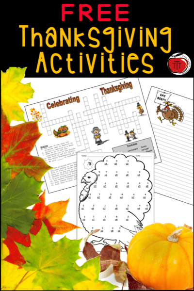 Free Thanksgiving Worksheets for Grades 3-5