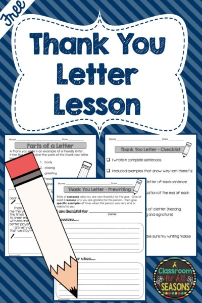 Thank You Letter Lesson