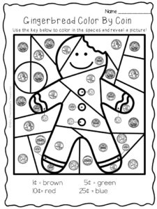 gingerbread color by coins free worksheet