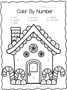Gingerbread house color by number FREE