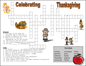 Free Thanksgiving Worksheets crossword puzzle Terri's Teaching Treasures