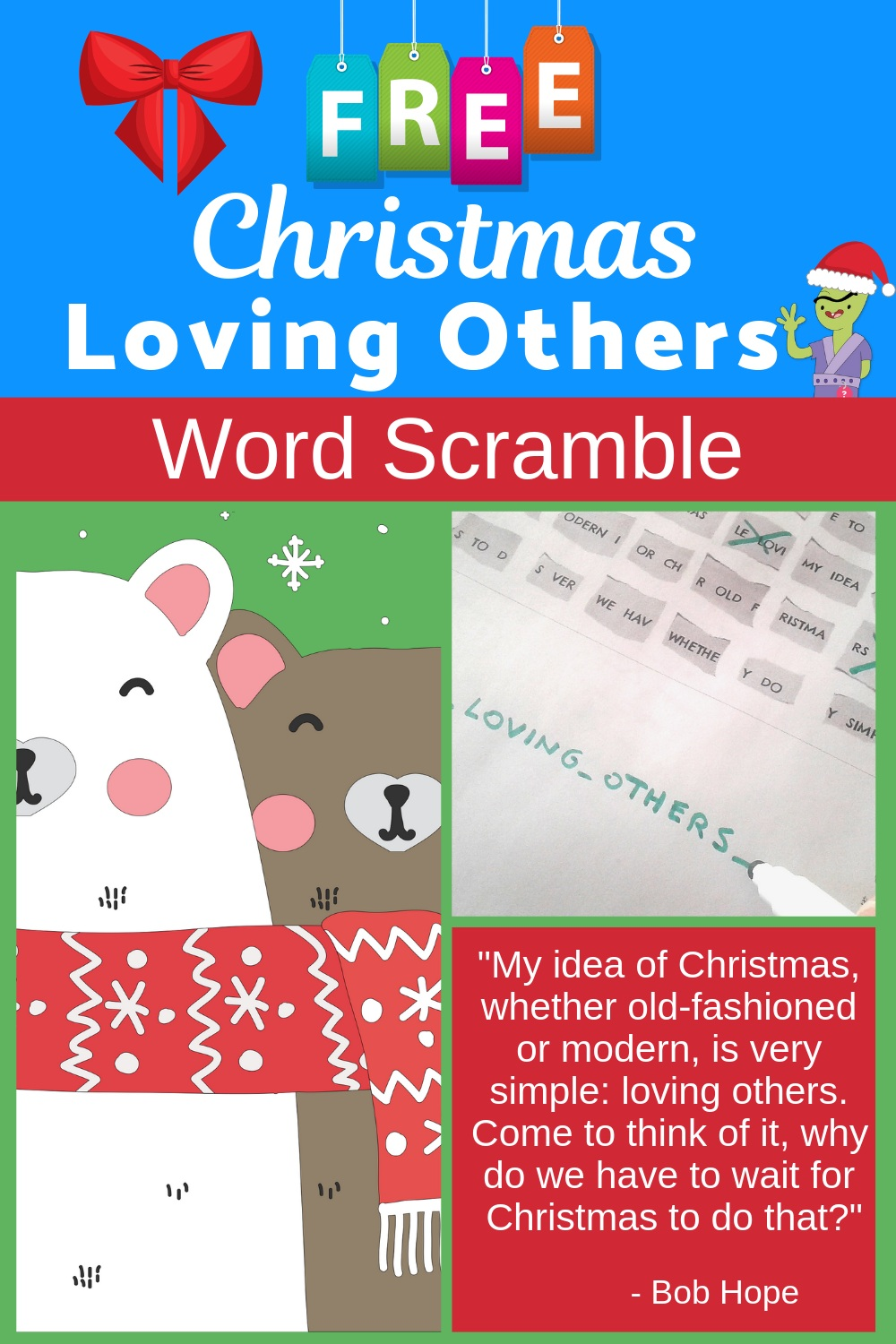 Christmas Activity for Kids - Free Word Scramble