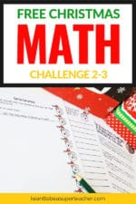 Free Christmas Math Challenge for 2nd-3rd