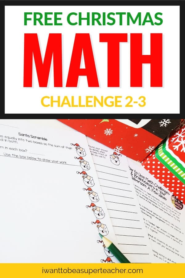 A Christmas math printable freebie for second and third grade students. Just print & go! This December math challenge problem is perfect for your advanced 2nd and 3rd graders. Use this free math worksheet for Christmas centers, math homework, problem of the week, small groups, fast finishers, morning work, or a whole class number talk. Fun for kids and NO PREP for teachers! Click for the free download. #secondgrade #thirdgrade #free