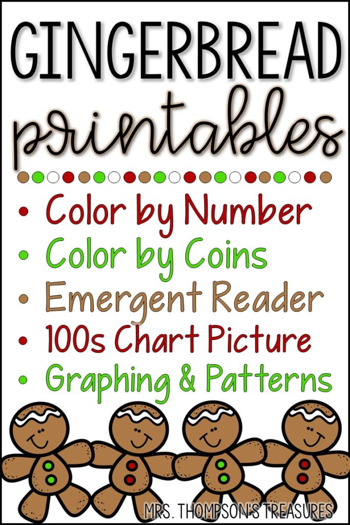 Free gingerbread printables - reading, patterns, graphing, estimation, color by code.