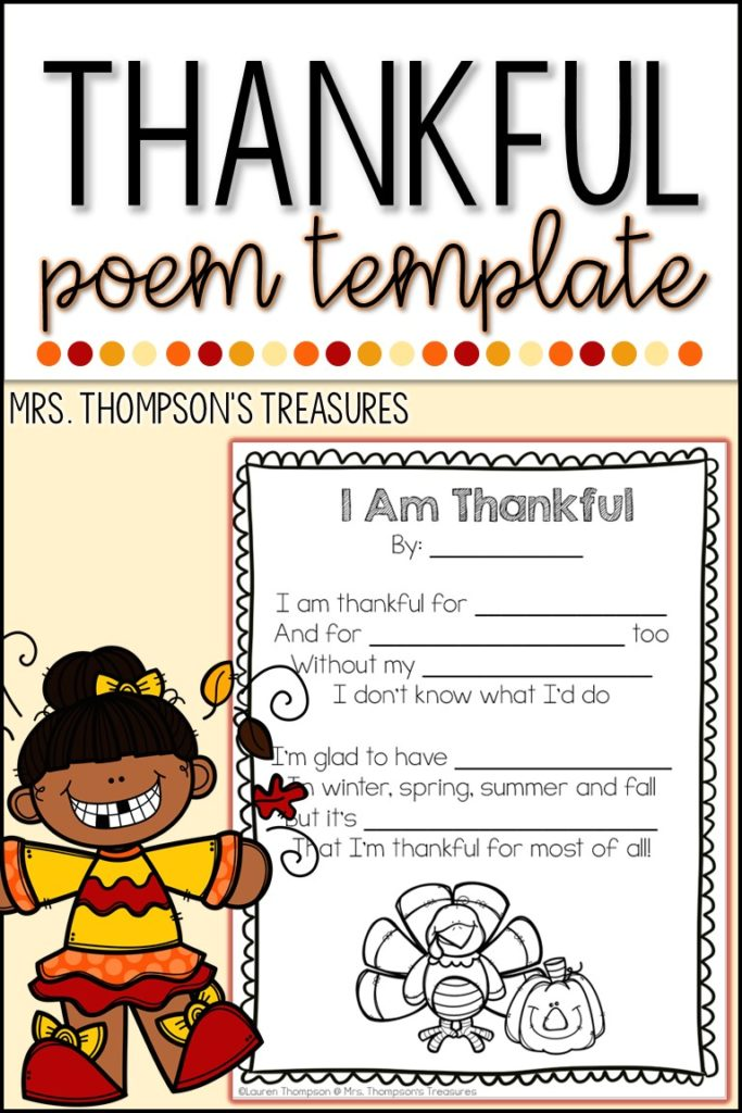 Thankful poem template - free Thanksgiving activity printable