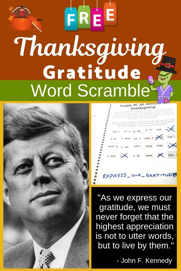 FREE Thanksgiving activity for middle school students