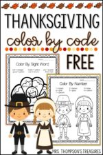 Free Thanksgiving Color by Code