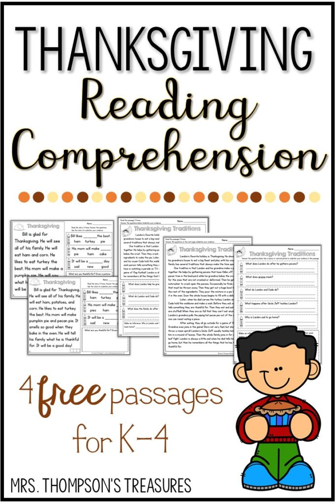 Free thanksgiving reading comprehension passages for k-4
