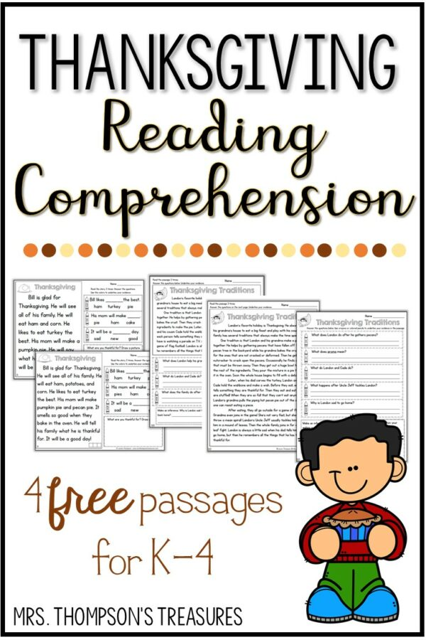 Free Thanksgiving Reading Comprehension - Classroom Freebies
