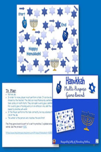 Hanukkah Game Board Freebie