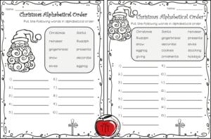 Free Christmas alphabetical order worksheets Terri's Teaching Treasures