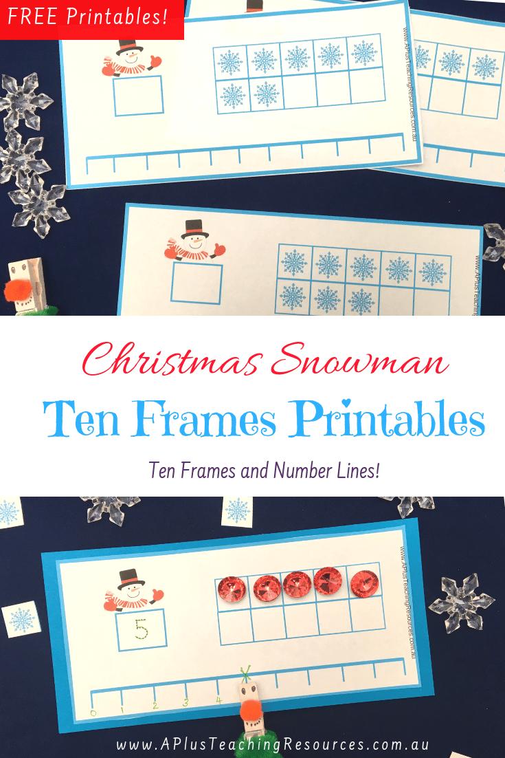 Christmas Snowman Printable ten frames