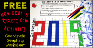 free New Year's mystery grid coordinate graphing activity Terri's Teaching Treasures