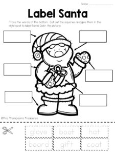 Free label Santa worksheet