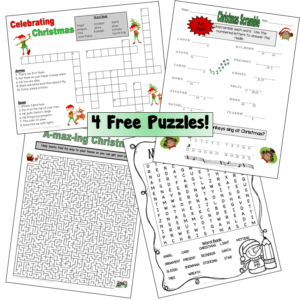 Free Christmas Puzzle worksheets Word search, crossword puzzle, maze, and unscramble riddle Terri's Teaching Treasures