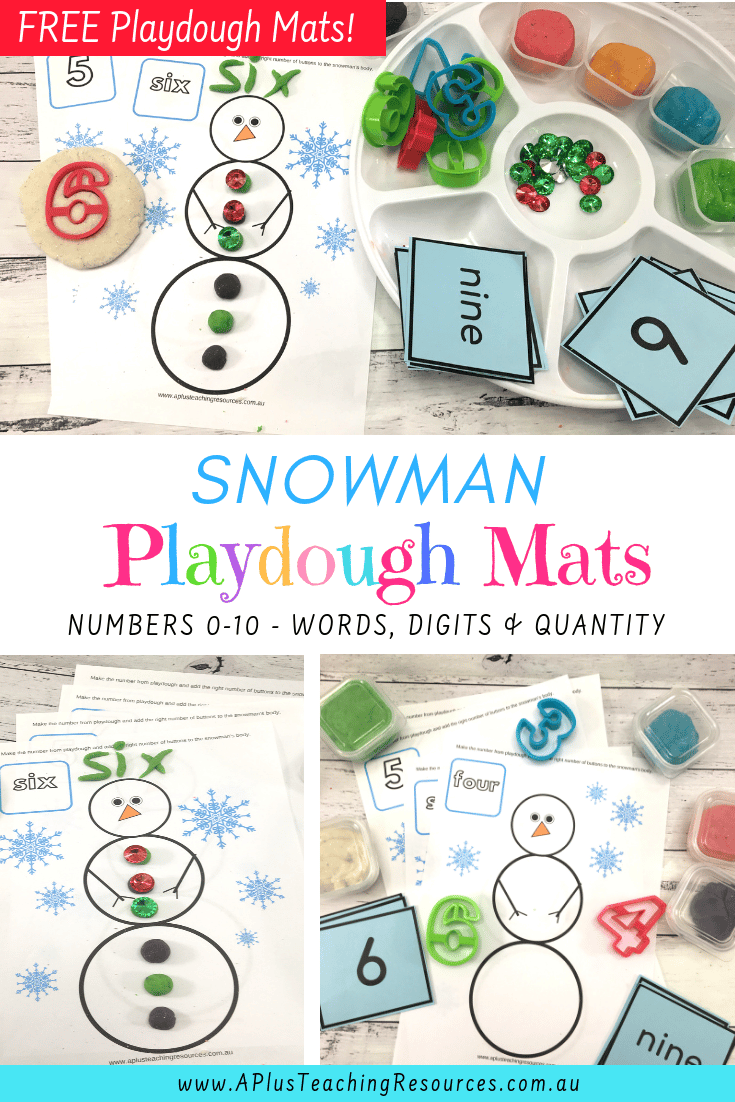 Snowman Number Playdough mats