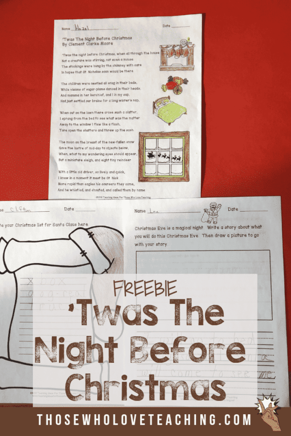 'Twas The Night Before Christmas Worksheets