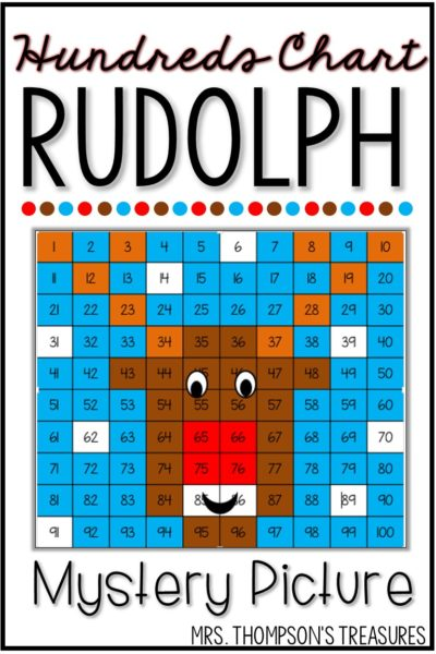 Free Christmas math Rudolph hundreds chart math activity