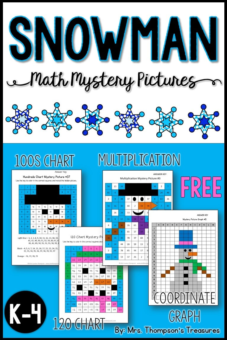 Free snowman math mystery pictures