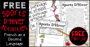 French winter vocabulary activities Terri's Teaching Treasures