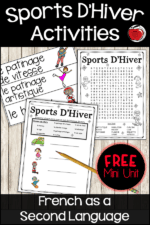 Free French Winter Sports Vocabulary Activities