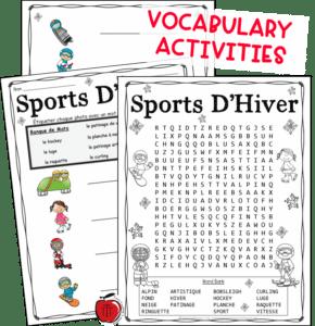 French winter vocabulary activities Terri's Teaching Treasures