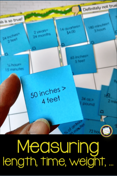 Free fourth grade math game for measurement of length, time, and weight.