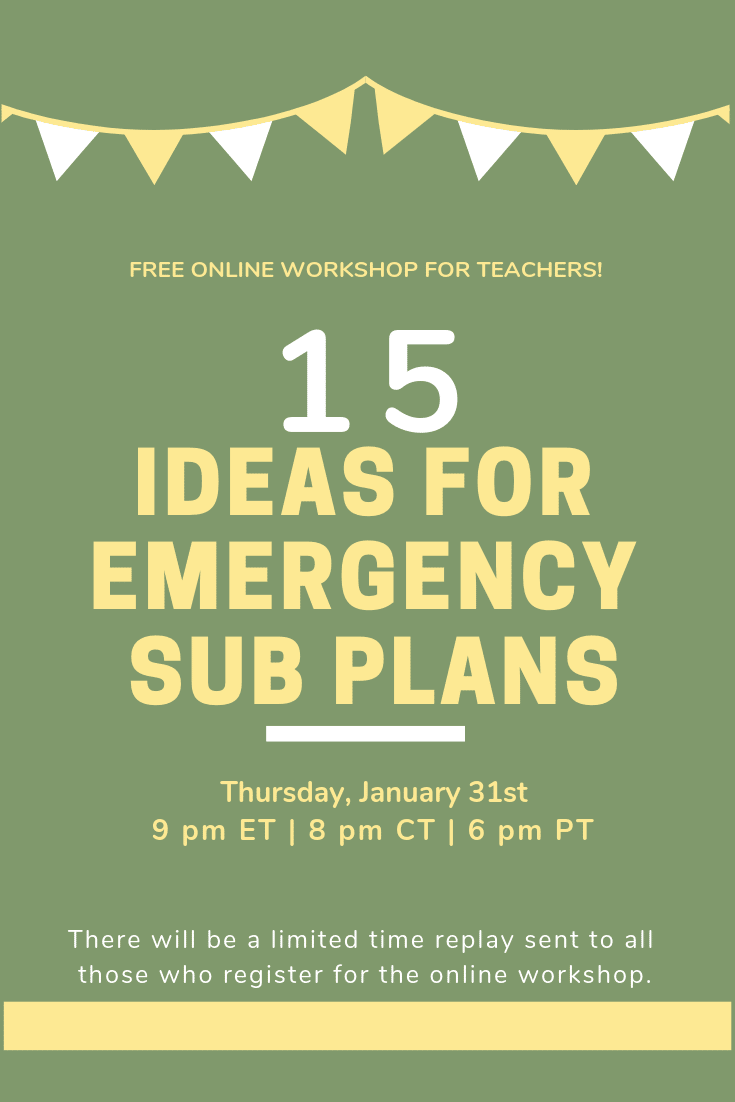 I am teaching this free online class to over 400 teachers on Thursday night. Feel free to attend and/or pass along to those who might also be interested in pulling together some quick ideas for emergency sub plans! #teachertraining #teacherpd