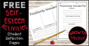 positive self-esteem worksheets growth mindset Terri's Teaching Treasures
