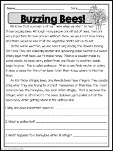Reading Comprehension Passages With Questions Classroom Freebies