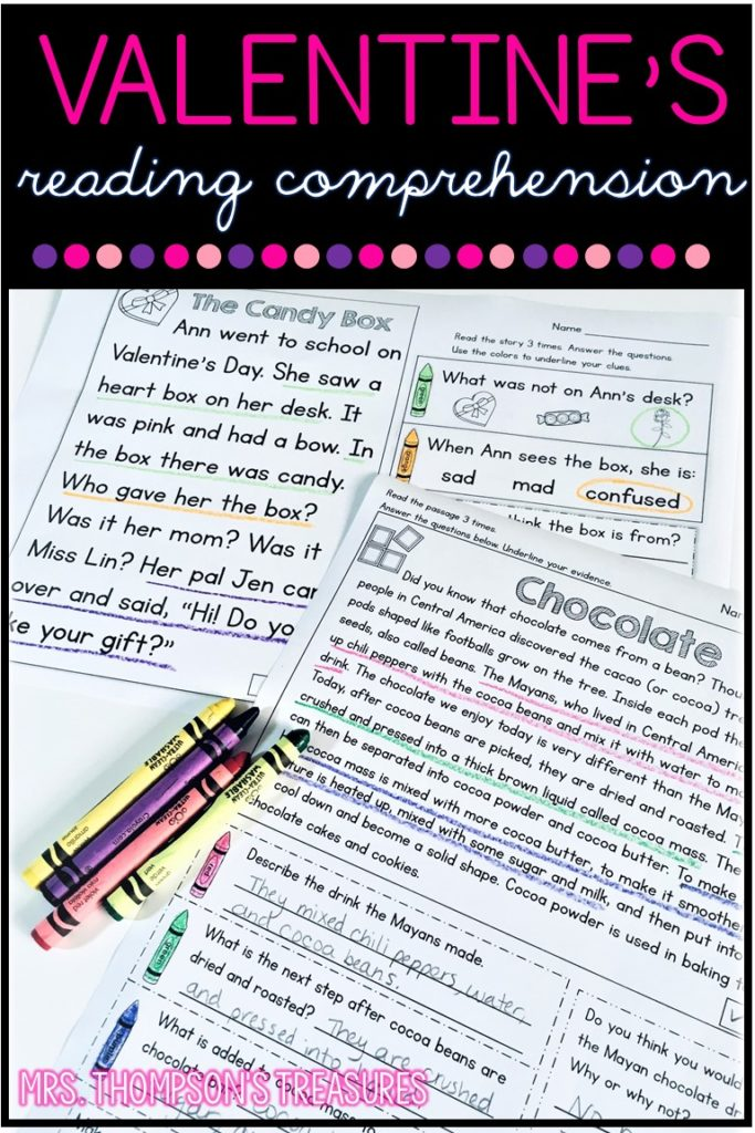 Free Valentine's Day reading comprehension passages and questions.