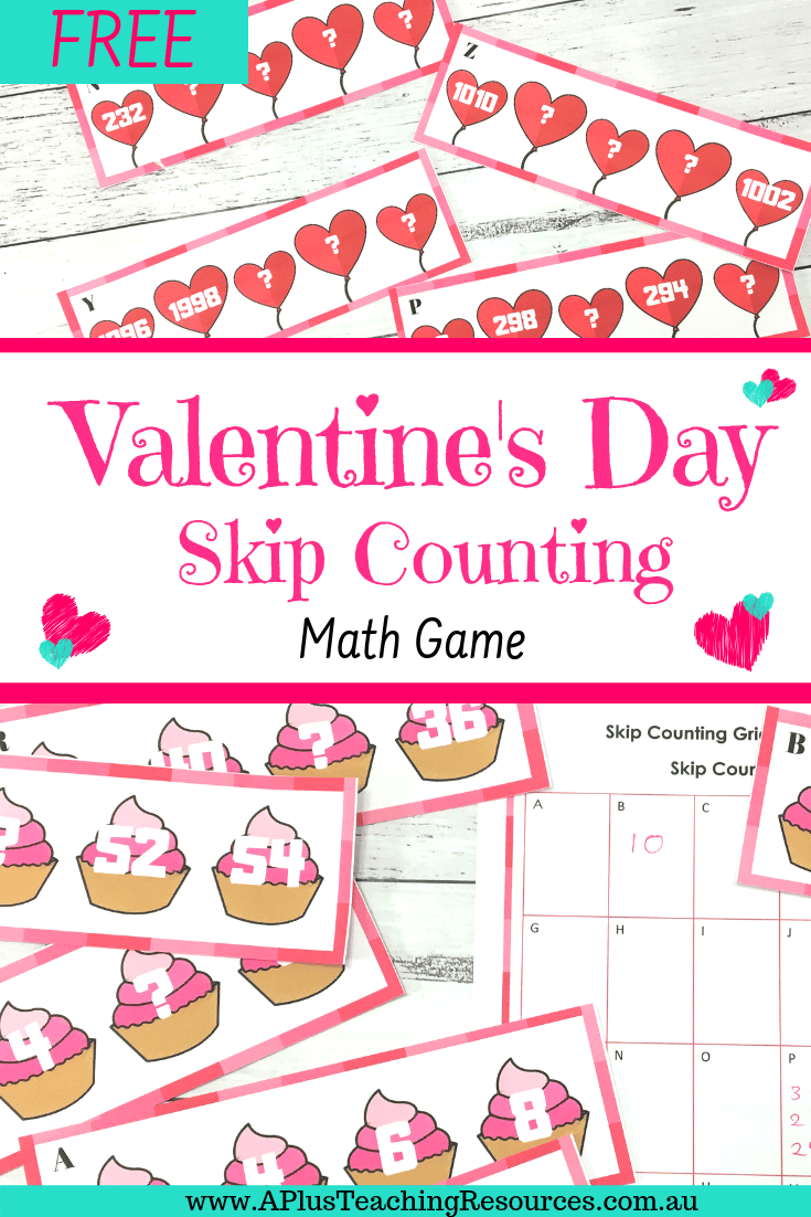 Valentines Themed Skip counting By 2 Task Cards math activity