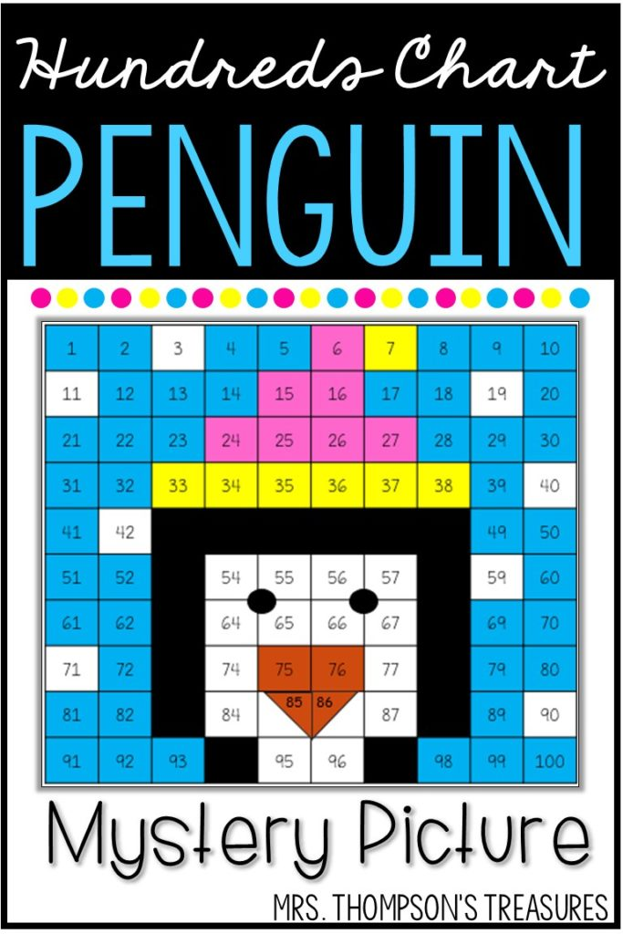 Free hundreds chart mystery picture of a winter penguin - fun math activity.
