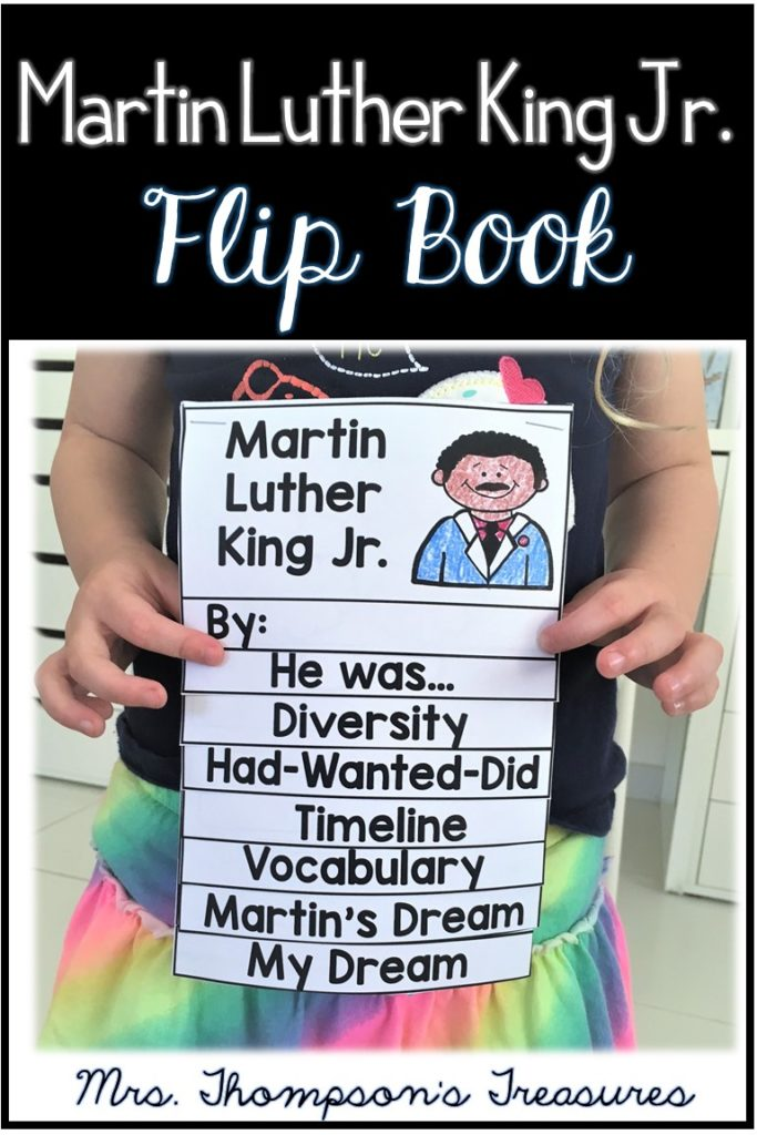 Free Martin Luther King Jr. flip book writing activity