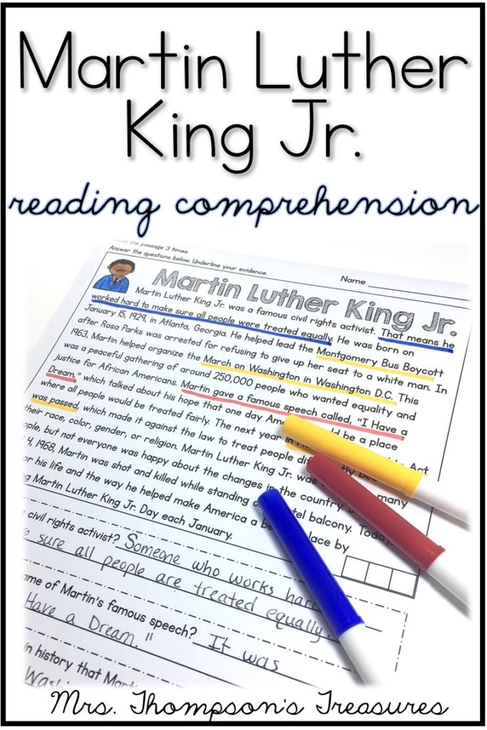 Free Martin Luther King Jr. reading comprehension passage and questions