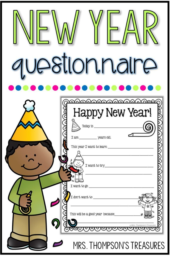Free New Year fill in the blanks questionnaire for kids.