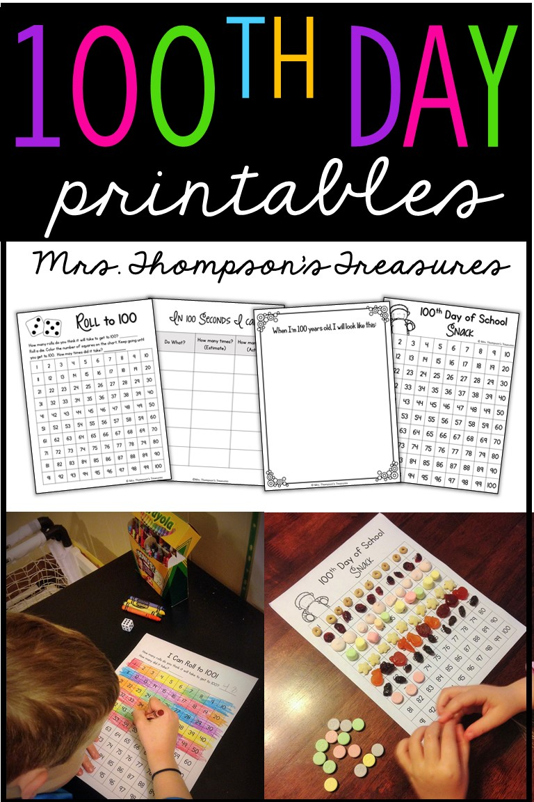 Free printable activities to celebrate the 100th day of school.