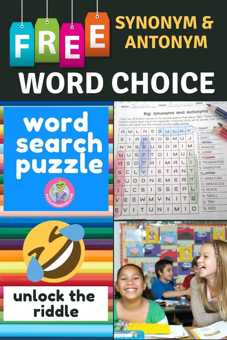 Word Search Puzzle / Word Choice Worksheet - Classroom Freebies