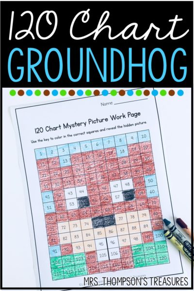 Free 120 chart math mystery picture of a groundhog.