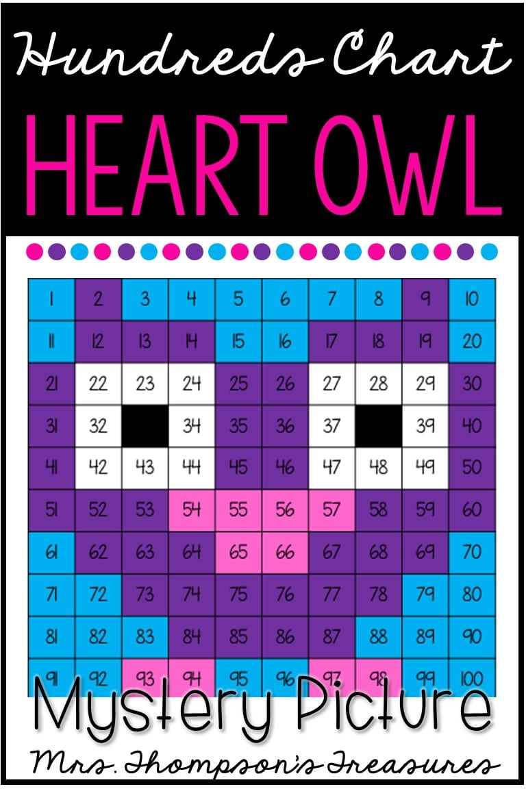 Free Valentine's Day hundreds chart mystery picture heart owl