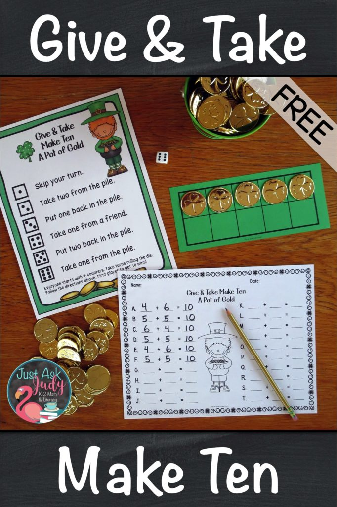 Check out this free math game for learning, practicing, and reviewing the Make Ten addition facts in kindergarten, first, and second grades. This hands-on St. Patrick's Day themed game uses counters and ten frames to provide concrete and visual support. #StPatrick'sDay #1stGradeMath