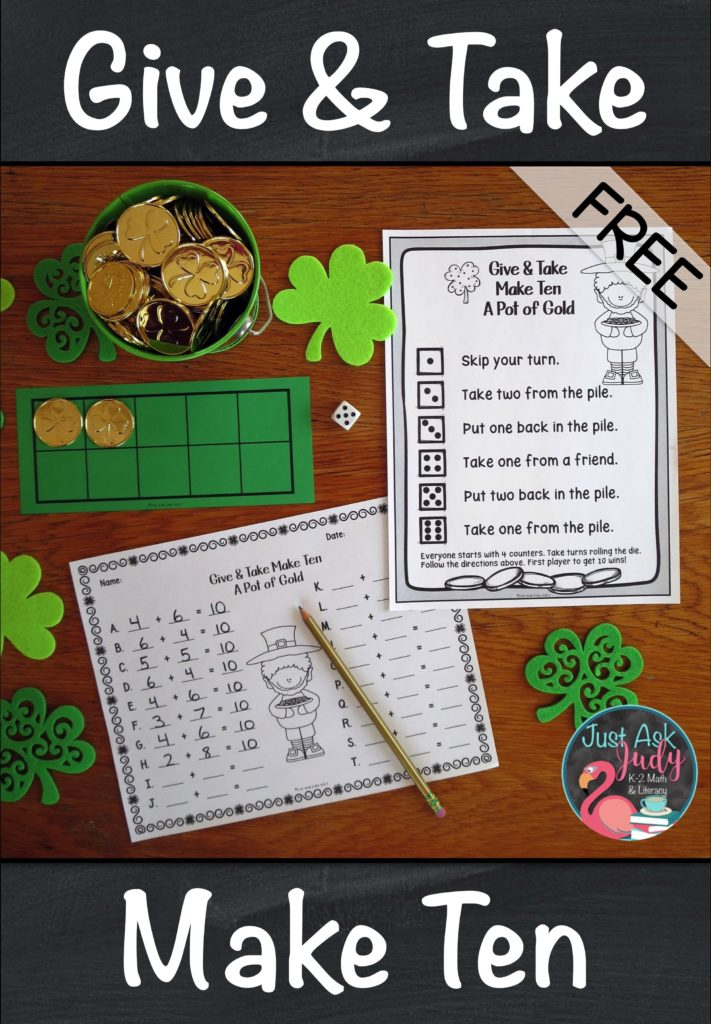 Download Give and Take Make Ten, a free math game for learning, practicing, and reviewing the Make Ten addition facts in kindergarten, first, and second grades. This hands-on St. Patrick's Day themed game uses counters and ten frames to provide concrete and visual support. #AdditionFactStrategies #StPatrick'sDay