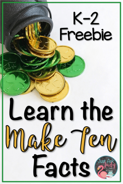 Discover Give and Take Make Ten, a small group math game for learning, practicing, and reviewing the Make Ten addition facts in kindergarten, first, and second grades. This free hands-on St. Patrick's Day themed game uses counters and ten frames to provide concrete and visual support. #MakeTen #StPatrick'sDay