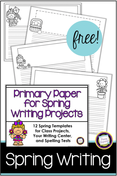 12 free templates for spring writing in the primary grades. illustrated with spring graphics.