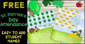 Free St. Patrick's Day Smartboard attendance Terri's Teaching Treasures Clover and gold coin leprechaun themes #stpatricksday #smartboard