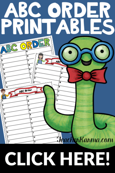 Free ABC Order printables for alphabetical order. #1stgrade #2ndgrade #3rdgrade #4thgrade #5thgrade #abcorder #teacherkarma