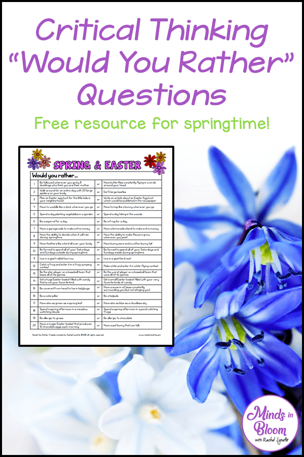 "A tall, vertical graphic that says ""Critical Thinking Would You Rather Questions: Free Resource for Springtime"" on it with a picture of blue and white flowers and a screenshot of the questions"